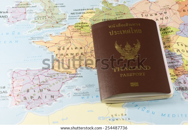 Map Of Spain France And Andorra.Thailand Passports On Map France Spainandorra Stock Photo Edit Now