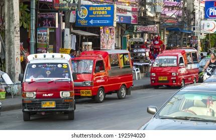 thailand - patong circa jan 2008 - typical street view of  tradi