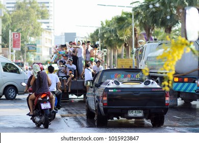 Thailand , Pattaya - April 13 , 2017: Pattaya Street during the Thai New Year is songkran. People pour water on each other and have fun.