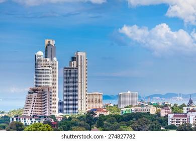THAILAND, PATTAYA - OCTOBER 26: Top view of Pattaya city, on October 26.2014 in Pattaya, Thailand.