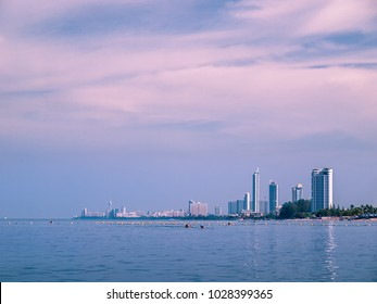 Thailand. Pattaya. View from the sea to the hotels and the altitudinal buildings along the coast