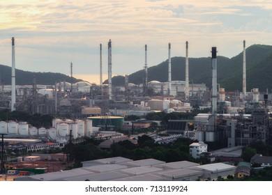Thailand Petrolium at Sri Racha with sunshine
