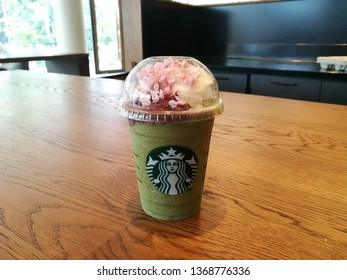 Thailand, Phra Khanong  - 30 Mar 2019: Starbucks Green Matcha Azuki Frappucino on the table. Highlight of the month. This photo took place in starbucks cafe, Sky Walk Residences.
