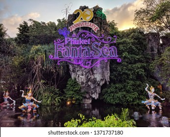 Thailand, Phuket - March 10, 2019: guided tour to FantaSea theme Park , entrance decorated with lights.