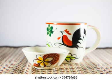 Thailand Pottery Cup Small Bowl Painting Stock Photo (Edit