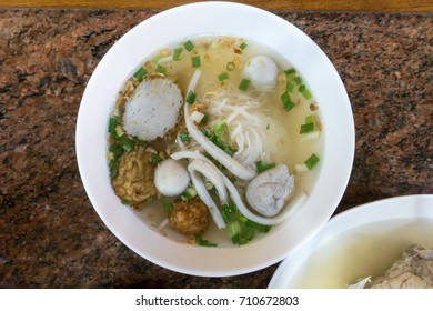 Thailand rice noodle, fish ball and fish cake rice noodle from top view