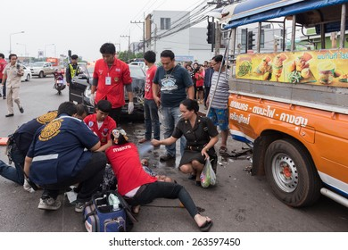 Thailand road accident.On March 23  2015 at 16.30 hrs., Police in the province. Receiving an That car crash on road are injured in 2 cases. Thailand is known that an accident very often in the top.