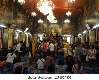 Thailand; samut prakan on 30 september 2018. phots of people at wat bang plee.