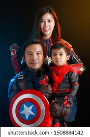 Thailand - SEP 15, 2019 :Family group cosplay dressd as captain America, captain Marvel and Spiderman