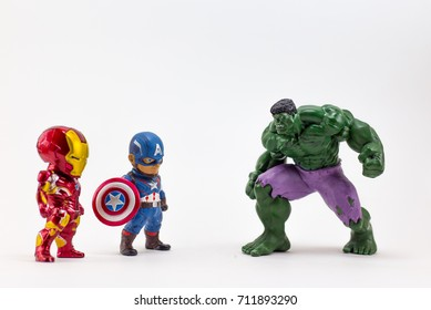 THAILAND, Sept 2017 :the adventure team on white background : Marvel toy collection in marketing campaign from Tesco Lotus Express.