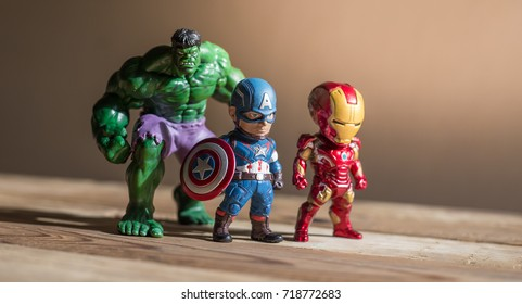 THAILAND, Sept 2017 :the adventure team on wooden background : Marvel toy collection in marketing campaign from Tesco Lotus Express.