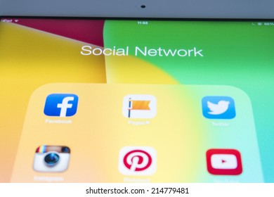 THAILAND - SEPTEMBER 03, 2014: All of popular social media icons on tablet device screen
