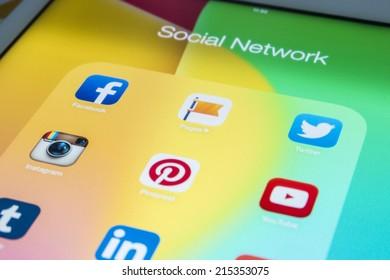 THAILAND - SEPTEMBER 03, 2014: All of popular social media icons on tablet device screen