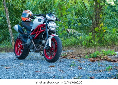 THAILAND - SEPTEMBER 5, 2017 : Motorcycle Ducati Monster on driveway.