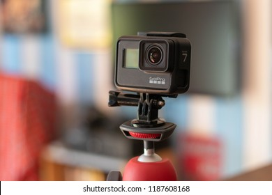Thailand - September27, 2018: GoPro Hero 7 Black The camera is Waterproof up to 10 m, supports 4k HEVC video recording. ,selective focus with blur background.