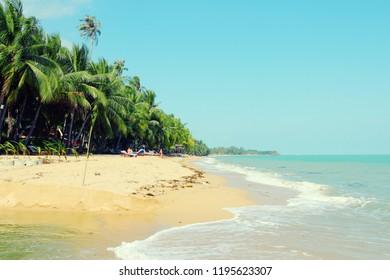 Thailand, Southeast Asia - beach in a seaside resort of Ko Samui island. Mae Nam town.
