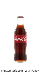 Thailand ,Sukhothai-January 12, 2015:Photo of 25 milliliters size of Coca-Cola.Coca-Cola is the most popular favorite carbonated beverages.