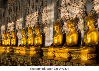 Thailand Temple Golden Buddha Statues