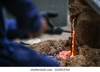Thailand Traditional Old Smelting Steel For iron ore, Flame , Iron slag , to forge sword , Iron scoop in fire