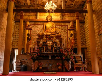 Thailand, Trat Province, Buppharam Temple - 2017 March 24.  Buppharam Temple is the oldest in Trat, the highlight for many visitors is seeing such as oldest wooden Viharn, Mural painting, old statue.