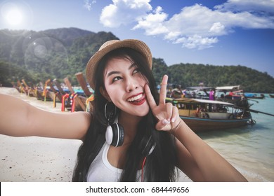 Thailand travel concept. asia travel selfie Asian woman
