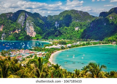 Thailand tropical vacation holidays concept background - tropical island with resorts - Phi-Phi island, Krabi Province, Thailand