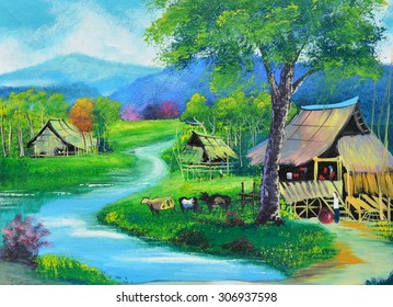 Thailand upcountry view oil painting on canvas