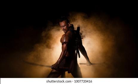 Thailand The warrior man fighting in ancient of Ayutthaya Siam.