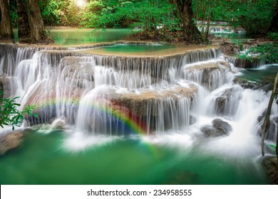 Thailand waterfall in Kanchanaburi (Huay Mae Kamin) with rainbows