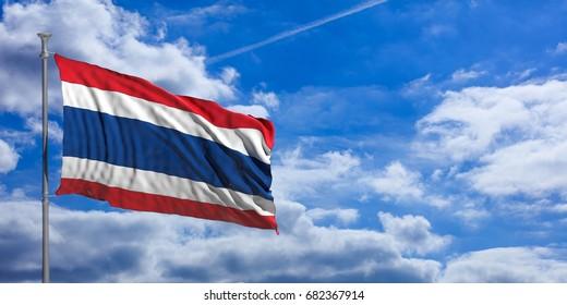 Thailand waving flag on blue sky background. 3d illustration