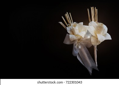 Thailand white funeral artificial flower for king dead background, The handy crafts daffodil  for his Majesty, King of wood flowers