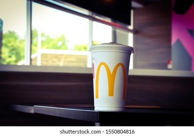 LopBuri - Thailand,05/11/2019: The McDonald's logo has branches around the world. The legendary deliciousness of McDonald's hamburgers began in the 1940s. Dick & Marice, McDonald's two brothers.
