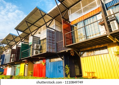 Thailand,12 January 2018 : Modern metal building room made from refurbish shipping container.