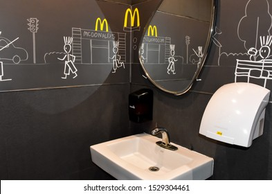 Ayutthaya - Thailand,13/10/2019: The McDonald's logo has branches around the world. The legendary deliciousness of McDonald's hamburgers began in the 1940s. Dick & Marice, McDonald's two brothers.