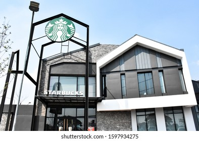 Ayutthaya - Thailand,25/12/2019: Coffee Starbucks is a US coffee shop in Seattle, Washington in 1971 and has more than 30,000 locations worldwide, including Ayutthaya in Thailand - Asia.