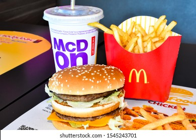 LopBuri - Thailand,30/10/2019: The McDonald's logo has branches around the world. The legendary deliciousness of McDonald's hamburgers began in the 1940s. Dick & Marice, McDonald's two brothers.