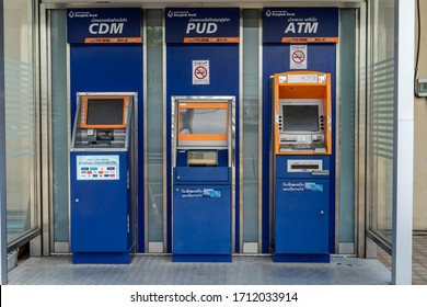 Thailand,April 23,2020;Automatic teller machine, ATM  Cash deposit machine,CDM and passbook update,PUD for pay services and other financial operations of Bangkok bank machines kiosk. No customer.