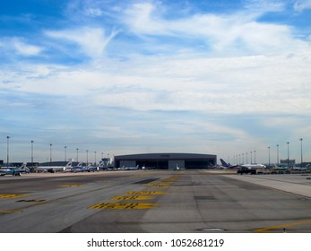 Thailand-August 21,2017: A view of the Airport Parking Bay with lots of airplane parking and the Aircraft Hangar on the back at Bangkok Suvarnabhumi International Airport.