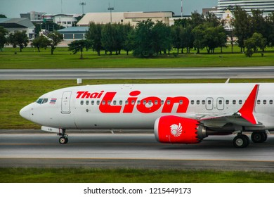 Thailand-August 26,2018: Thai Lion Air Boeing 737 MAX 9 Reg.HS-LSI taxiing to gate at Donmueang international airport.