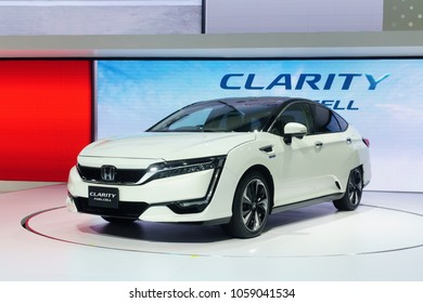 Thailand,Bangkok - 31 March 2018 : New Honda Clarity fuel cell car white color on the 39th BANGKOK INTERNATIONAL MOTOR SHOW 2018