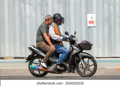 THAILAND,BANGKOK - FEBRUARY 13, 2018: Motorcycle Taxis for transportation passengers need travel speed.