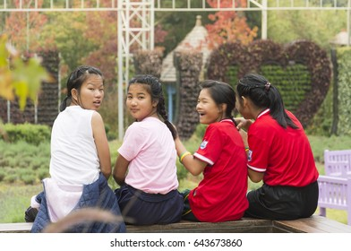 Thailand,Chiangmai province ,Angkhang Mountain National park  - October 23, 2015 : Close-up view of happy and funny teenagers sitting closet , editorial