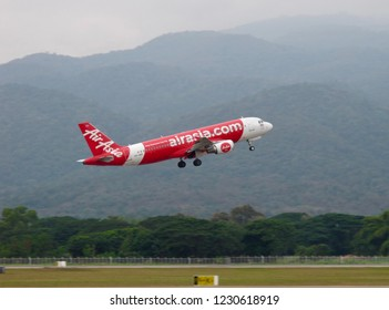 Thailand-January 13,2018: Thai AirAsia's Airbus A320-200 Aircraft (Reg. HS-ABR) taking off at Chiang Mai International Airport