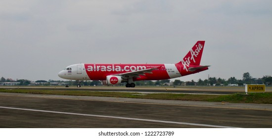 Thailand-January 13,2018: Thai AirAsia's Aircraft (Reg. HS-ABR) taxiing at Chiang Mai International Airport