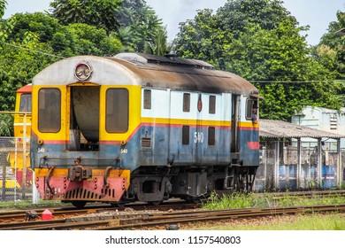 Thailand-July 30,2018: Davenport Locomotive 500 Horsepower at Nakhon Lampang Train Station.