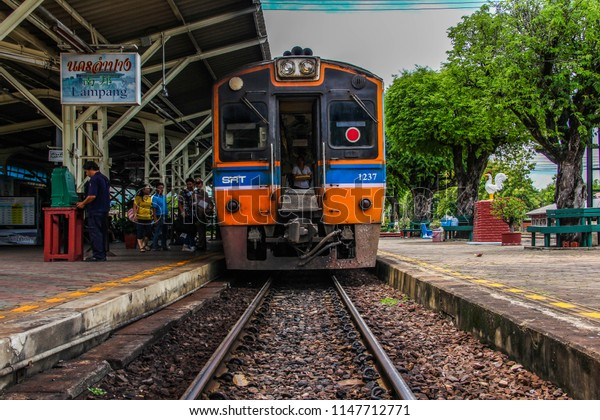 Thailand-July 30,2018: Tokyu diesel railcar locomotive of State Railway of Thailand(SRT) locate at Lampang train station.