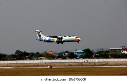 Thailand-March 13,2018: Bangkok Airways Atr72-500 landing at Chiang Mai airport.