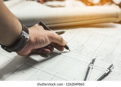 Thailand,Nakhosawan 17,12,2018 : Engineering is working on the table,Engineering and drawing tools on the table