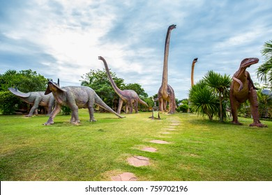 thailand,november,20,2017,Public park in Kalasin State of Thailand with dinosaurs made of cement.
