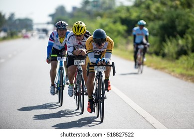 """THAILAND,ROI-ET - NOVEMBER,2016-20: Cyclists  cycling race through the roads of Roi-Et in """"101 PAN LAN TAUNG"""" Festival on 20 November 2016"""